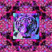 Tiger Digital Art Prints - Eyes of The Bengal Tiger Abstract Window 20130205p0 Print by Wingsdomain Art and Photography