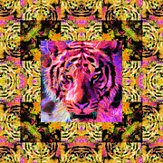 Predators Digital Art Prints - Eyes of The Bengal Tiger Abstract Window 20130205p80 Print by Wingsdomain Art and Photography
