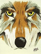 Pack Animal Drawings Posters - Eyes of the Wolf II Poster by Deborah Ross