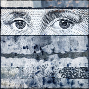 Collage Art - Eyes on Blue by Carol Leigh