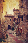 Old Houses Framed Prints - Eze Street in Color. France Framed Print by Jenny Rainbow