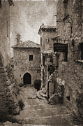 Old Houses Prints - Eze Street. Monochrome Print by Jenny Rainbow
