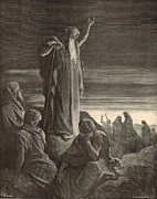 Ezekiel Framed Prints - Ezekiel Prophesying by Gustave Dore 1890 Engraving Framed Print by Antique Engravings