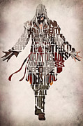 Typographic Prints - Ezio Auditore da Firenze from Assassins Creed 2  Print by Ayse T Werner