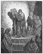 Orthodox Drawings Prints - Ezra reads the Law to the Israelites  Print by Oprea Nicolae