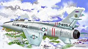 Usaf Drawings Posters - F-100 D Super Sabre Poster by Jim Hubbard