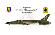 Republic Prints - F-105G Wild Weasel Greeting Card Print by Arthur Eggers
