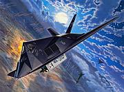 Stu Shepherd Posters - F-117 Nighthawk - Team Stealth Poster by Stu Shepherd