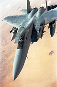 Iraq Prints Prints - F-15 Eagle aircraft flies a patrol over the desert Print by Amy Denson