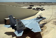 Iraq Prints Prints - F-15D Eagle aircraft sits in a revetment Print by Amy Denson