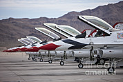 Us Open Art - F-16c Thunderbirds On The Ramp by Terry Moore