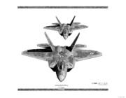 Lockheed Drawings Framed Prints - F-22 Raptor Framed Print by Arthur Eggers