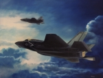 Vmfa Paintings - F-35B Lightening II by Stephen Roberson