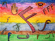 Sign Language Drawings - F by Lois Picasso