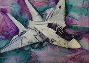 Fighter Jet Drawings - F14 by Gitta Brewster