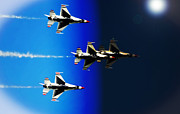 Sun Flare Posters - F16 Flight Into Space Poster by DigiArt Diaries by Vicky Browning