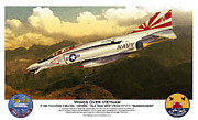 Vietnam Air War Art Metal Prints - F4-Phantom Wings Over Vietnam Metal Print by Kenneth De Tore