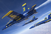 Three Angels Posters - Fa-18 Hornets Of The Blue Angels Fly Poster by Stocktrek Images