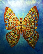 Fabric Mixed Media - Fabric Butterfly by Bob Craig