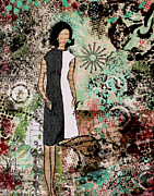 Fashion Art For Print Posters - Fabulous a retro inspired abstract mixed media artwork Poster by Janelle Nichol