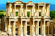 Archeology Paintings - Facade of ancient Celsius Library in Ephesus Turkey by Lanjee Chee