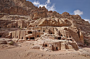 Jordan Photo Originals - facade street in Nabataean ancient town Petra by Juergen Ritterbach