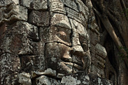 Ancient Ruins Posters - Face At Banyon Ankor Wat Cambodia Poster by Bob Christopher