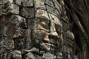 Face At Banyon Ankor Wat Cambodia Print by Bob Christopher