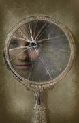 Reflected Posters - Face In Broken Mirror Poster by Christopher Elwell and Amanda Haselock