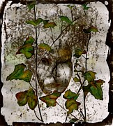 Stone Tapestries - Textiles Prints - Face in the Garden Print by Carolyn Doe