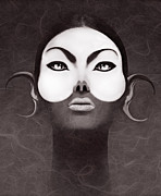 Human Being Metal Prints - Face Moon Metal Print by Yosi Cupano