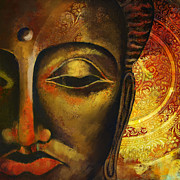 Greeting Cards Paintings - Face of Buddha  by Corporate Art Task Force