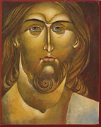 Egg Tempera Prints - Face of Christ Print by Mary jane Miller