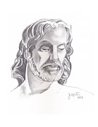 John Keaton Drawings - Face of Jesus by John Keaton