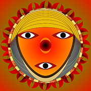 Kaleidoscope Digital Art - Face of the Inca by Mario Carini