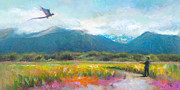 Impressionistic Landscape Painting Posters - Face Off - Boy facing his dragon kite Poster by Talya Johnson
