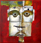 Icons Painting Originals - Face on  Face by Mary jane Miller