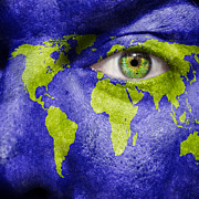 Make-up Prints - Face the World Map Print by Semmick Photo