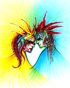 Healing Drawings Metal Prints - Face to Face II Metal Print by Andrea Carroll