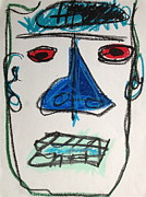 Featured Pastels - Face with Blue Nose by Adam Marx
