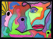 Faces Pastels - Face With Shapes by Christine Perry