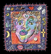 Face Tapestries - Textiles Prints - Face Your Fears Print by Susan Sorrell