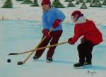 Winter Sports Painting Originals - Faceoff by Anthony Dunphy