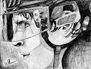 Hockey Drawings Prints - Faceoff Focus Print by Kayleigh Semeniuk