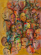 Mob Painting Prints - Faces in the Crowd Print by Larry Martin