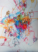 Jewish Art Drawings - Facing Each Other 1 by David Wolk