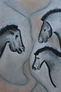 Cave Pastels Prints - Facing Horses Cavedrawing Print by Elke Wessel