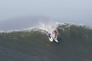 California Big Wave Surf Prints - Facing Off On A Big Wave At Mavericks Print by Scott Lenhart