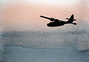 Bomber Escort Posters - Fade Into Nothingness PBY Over Empty Sea Poster by R Kyllo