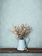 Interior Still Life Metal Prints - Faded Bouquet in Blue Metal Print by Artskratches